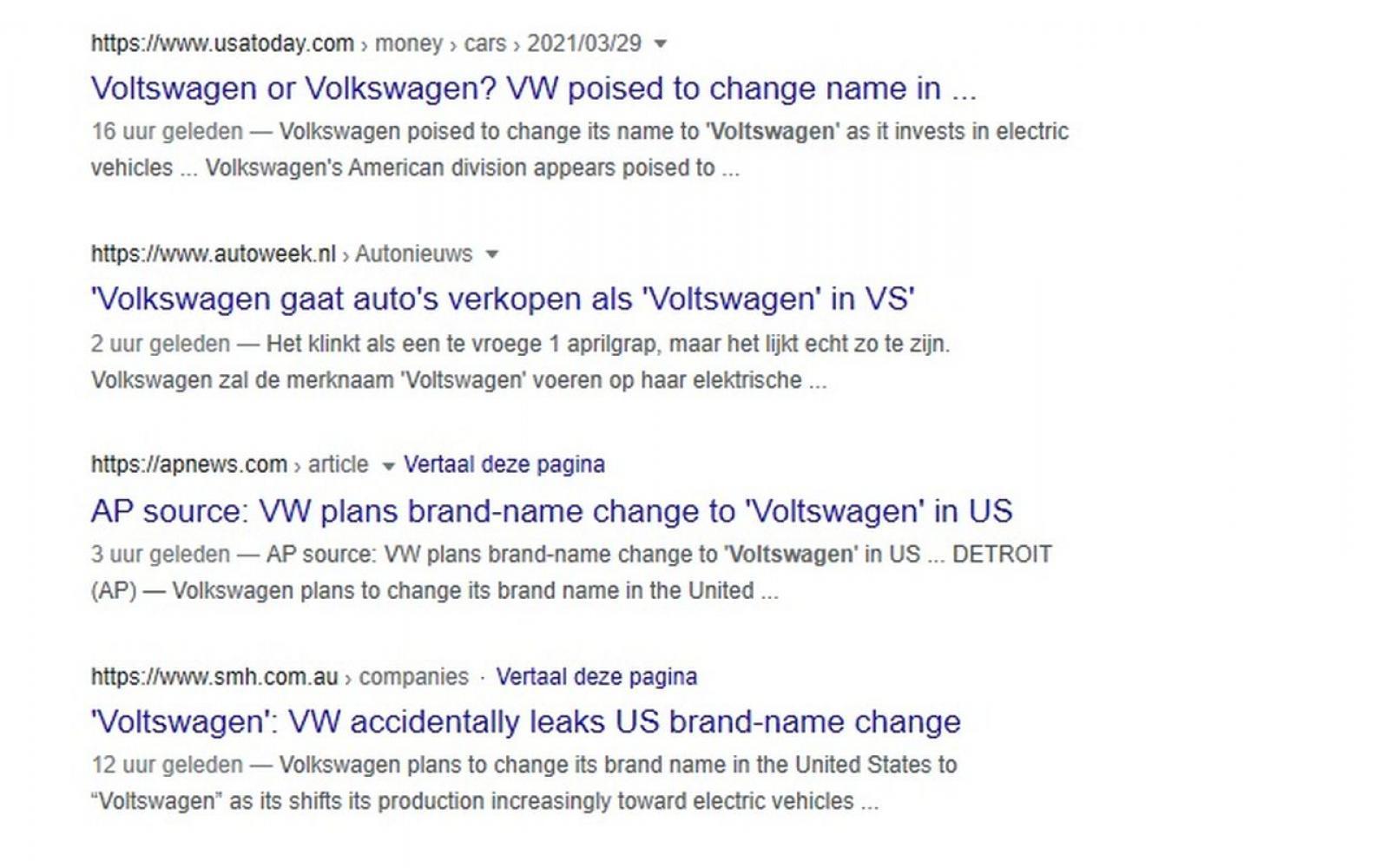 Amerikaanse beurswaakhond onderzoekt mislukte 1 april-grap Volkswagen