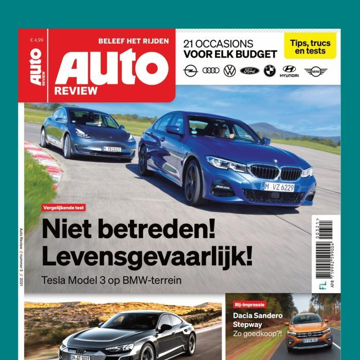 Lees Auto Review 3! Tesla Model 3 op levensgevaarlijk BMW 3-serie-terrein