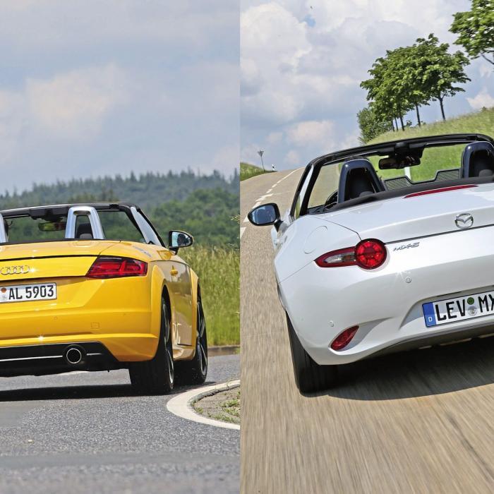 Occasion vergelijking: Audi TT en Mazda MX-5 verwelkomen de lente