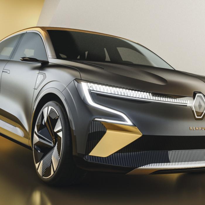 De Renault Megane eVision heeft een hele dunne ...