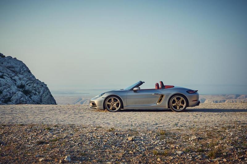 Silver-colored Porsche 718 Boxster 25 Years celebrates silver Boxster anniversary