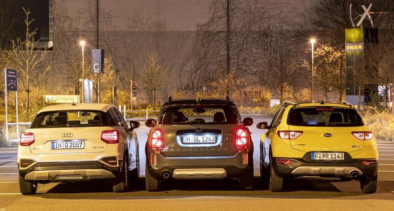 Test: zo drijven de Audi Q2, Kia Stonic en Mini Countryman je in het nauw ...