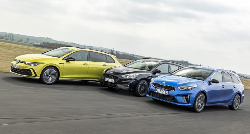 Test Ford Focus, Kia Ceed en Volkswagen Golf: welke stationwagon is de beste gezinsauto?