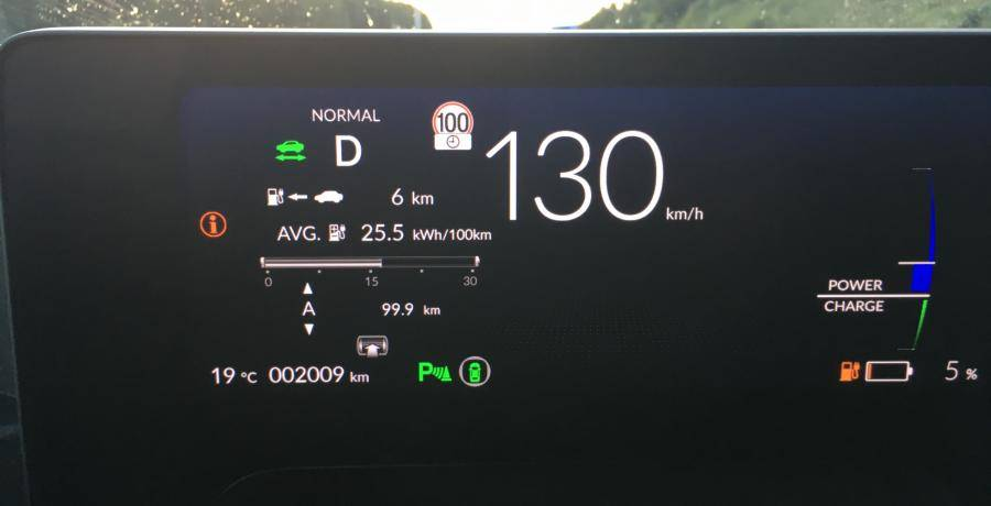 Honda E: actieradius gemeten bij 130 en 100 km/h
