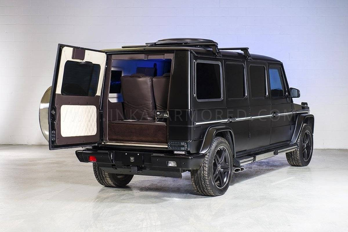 over de top mercedes g 63 amg verlengd en bepantserd tuning styling. Black Bedroom Furniture Sets. Home Design Ideas